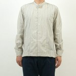 MHL. WIDE STRIPE COTTON NO COLLAR SHIRTS / DRY COTTON JERSEY L/S T-SHIRTS
