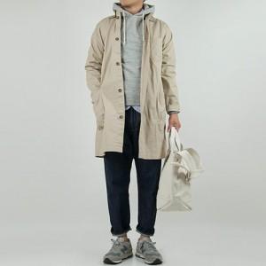 LOLO 高密度コットンシャツコート BEIGEを使ったファッションコーディネート・着こなし