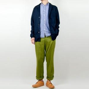 LOLO コットンリネン ノッチドカラーシャツ NAVYを使ったファッションコーディネート・着こなし
