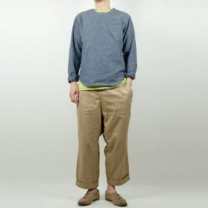 LOLO Uネック プルオーバーシャンブレーシャツ BLUEを使ったファッションコーディネート・着こなし