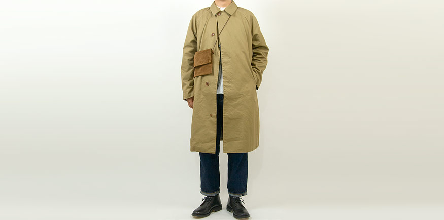 maillot mature cotton over coat KHAKI BEIGEを使ったコーディネート
