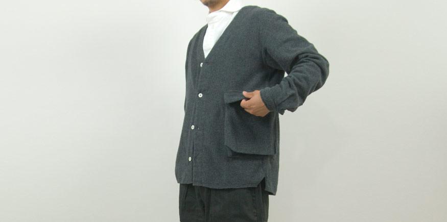 LOLO 起毛シャンブレー Bagポケット カーデシャツ GRAY