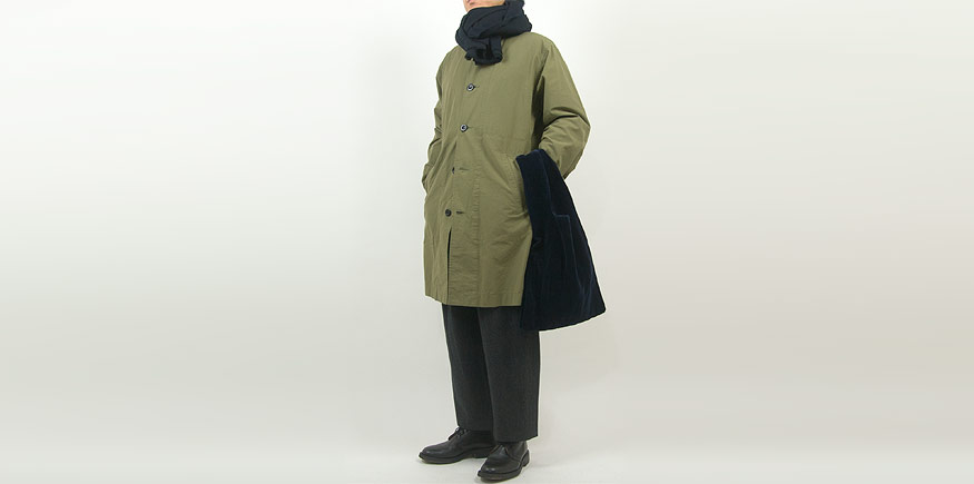 MHL. WASHED COTTON POPLIN COAT 181ARMY GREEN 〔メンズ〕