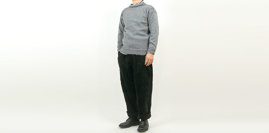Guernsey Woollens Traditional guernsey plain MID GRAY