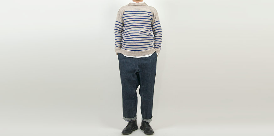 Guernsey Woollens Traditional guernsey stripe OATMEAL x DENIM BLUE