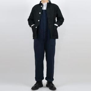 LOLO モールスキン 丸襟カバーオール BLACK