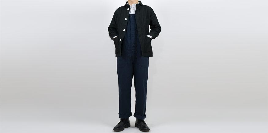 LOLO LIKE 高密度馬布 オーバーオール NAVYを使ったファッションコーディネート・着こなし
