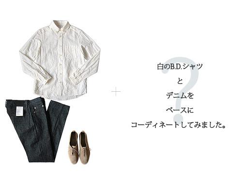 白のB.D.シャツとデニムのコーディネート