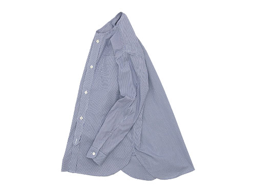 blanc no collar long shirts NAVY STRIPE