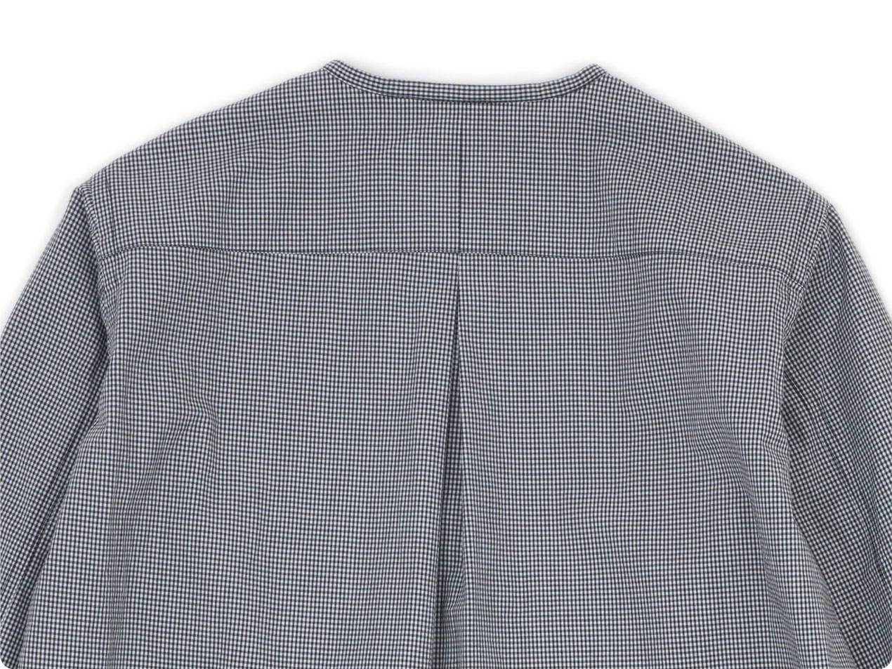 blanc no collar long shirts cotton MONOTONE GINGAM