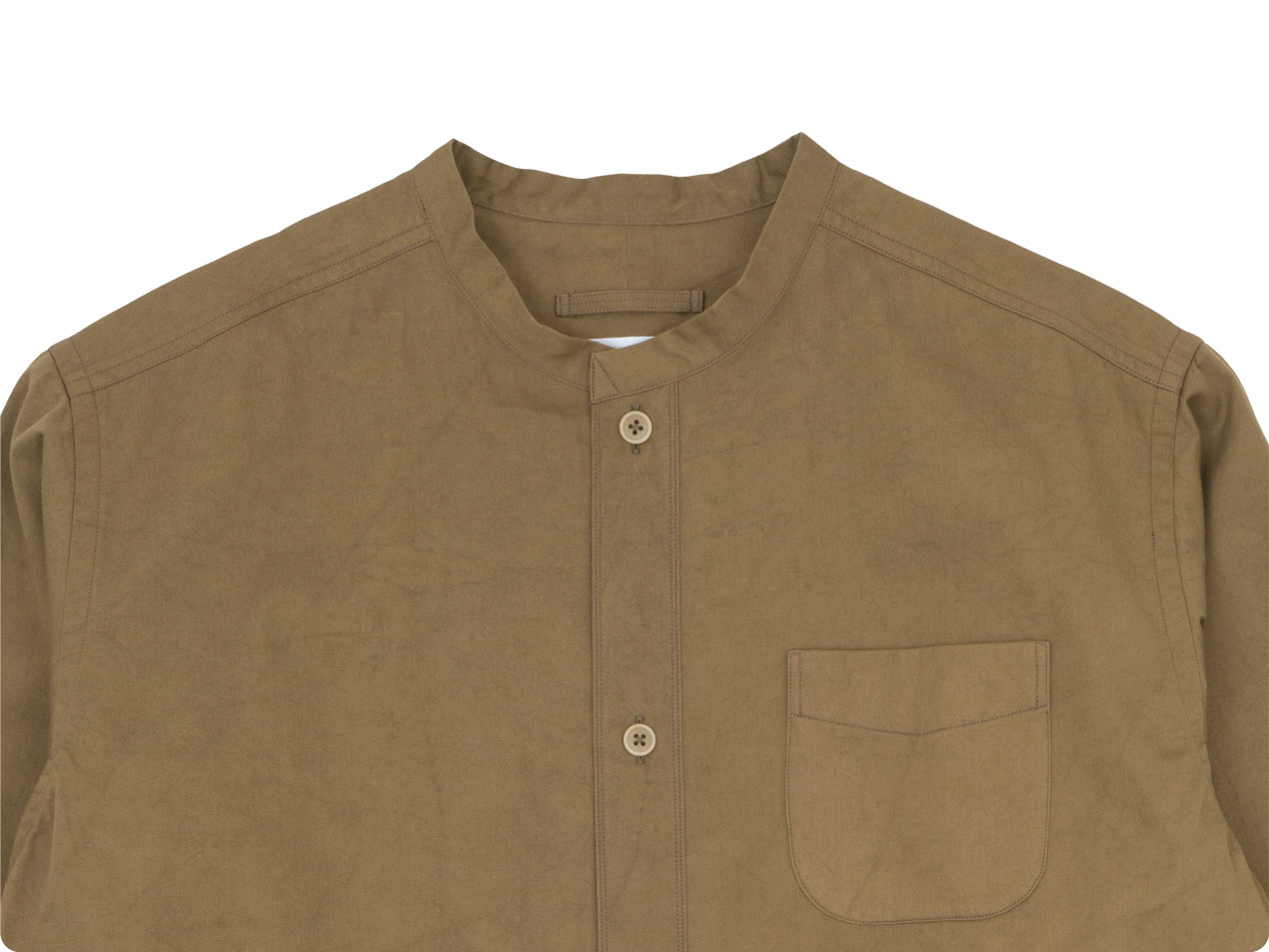 blanc 120/2高密度サテン生機染め no collar long shirts cotton