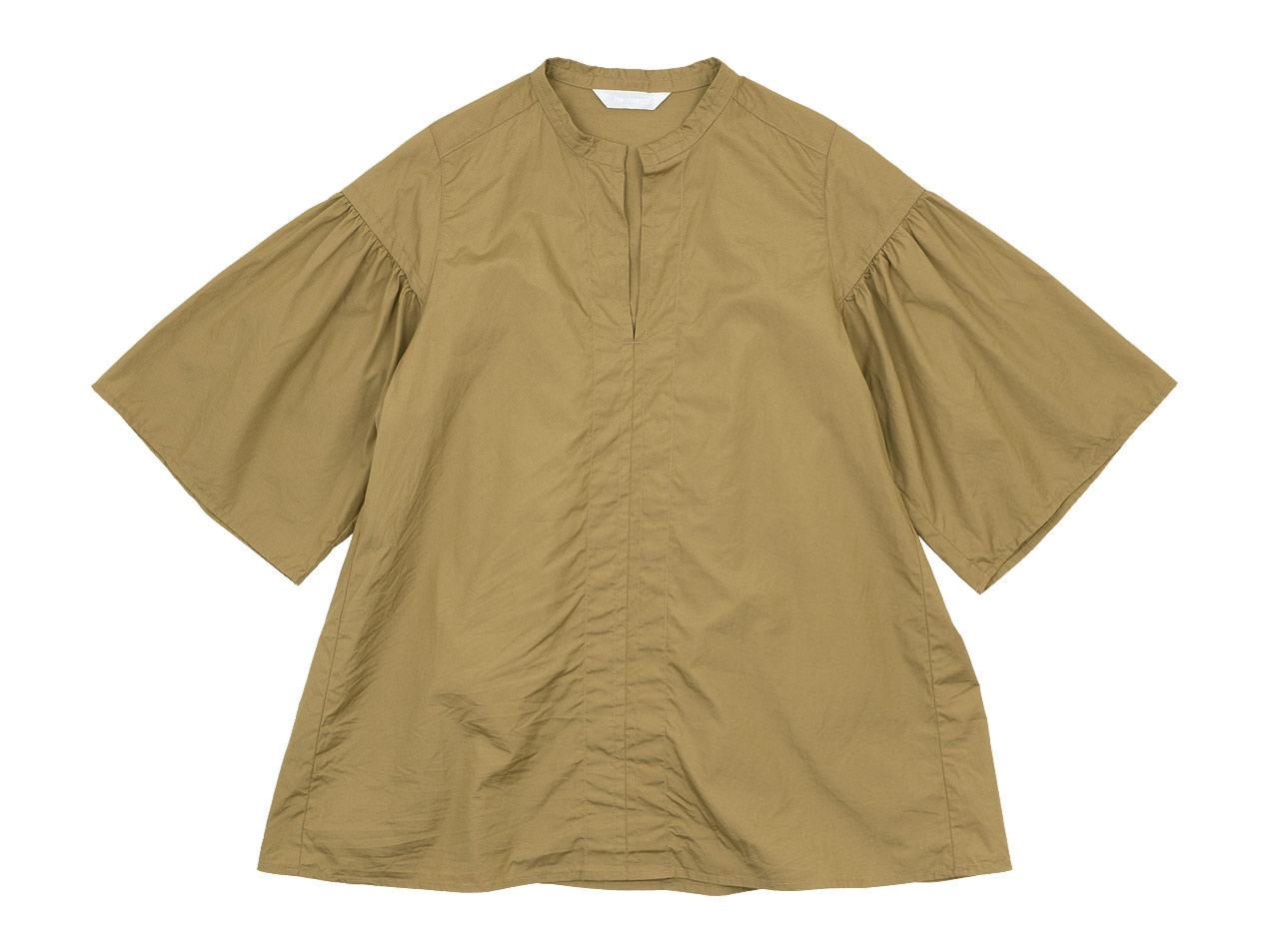homspun 100/2ブロード スタンドカラー ギャザーブラウス / オープンカラーシャツ