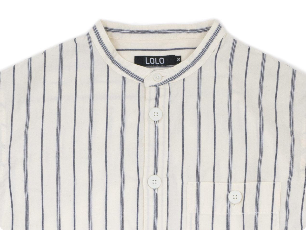 LOLO スタンドカラーストライプシャツ