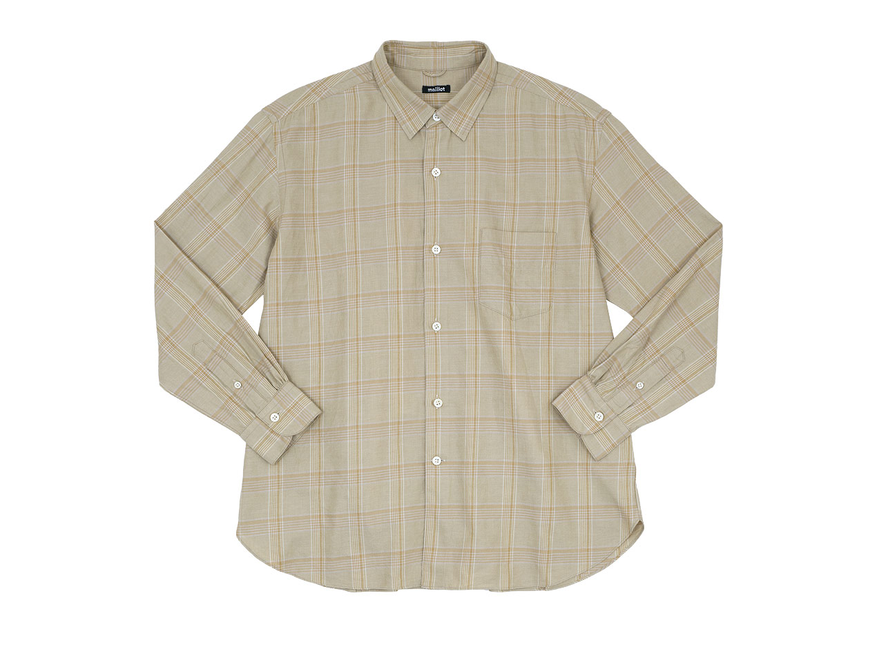 maillot mature twill check regular shirts  / twill check pull over stand shirts
