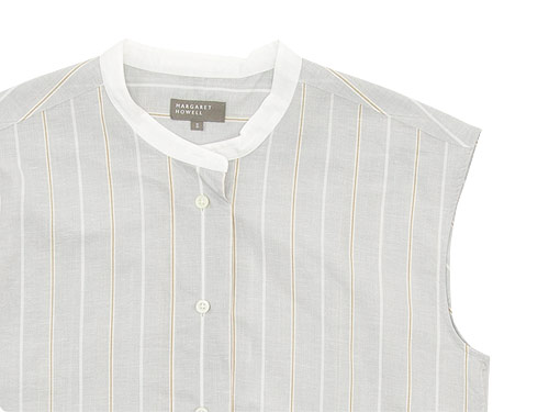 MARGARET HOWELL WIDE PJ STRIPE COTTON LINEN SHIRTS