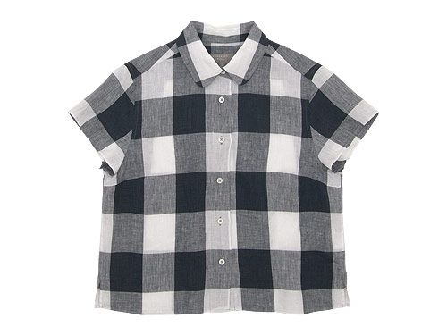 MARGARET HOWELL LARGE CHECK LINEN S/S SHIRTS / FINE LINEN NO COLLAR SHIRTS