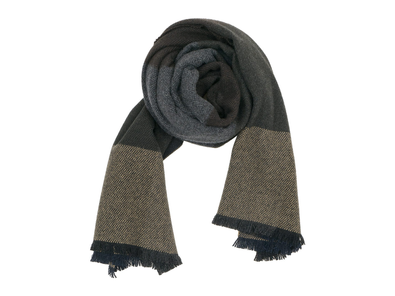 MARGARET HOWELL BLOCK CHECK SCARF