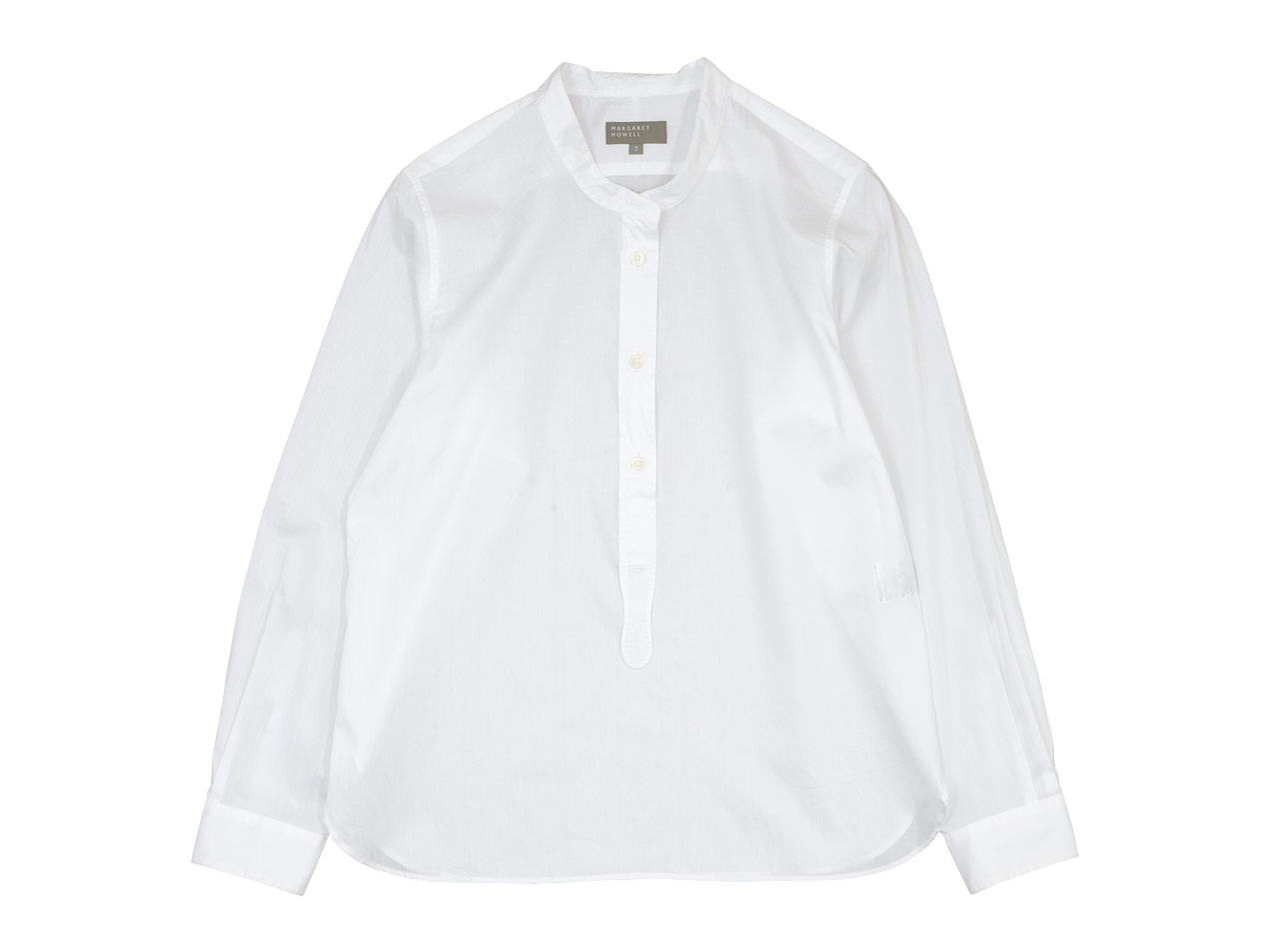 MARGARET HOWELL CHINTZ COTTON PULL ON COLLARLESS SHIRTS 〔レディース〕