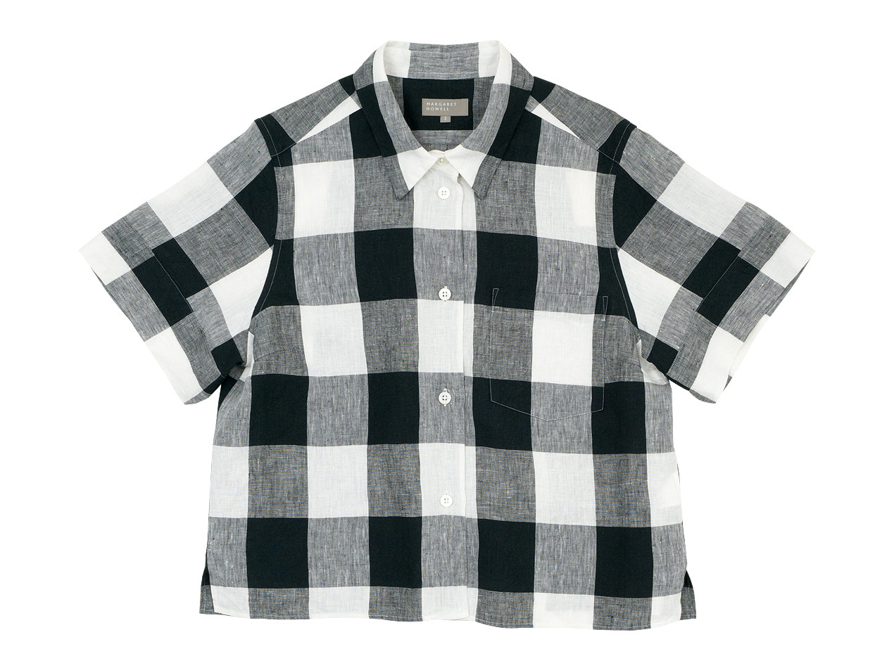 MARGARET HOWELL LARGE CHECK LINEN S/S SHIRTS 〔レディース〕