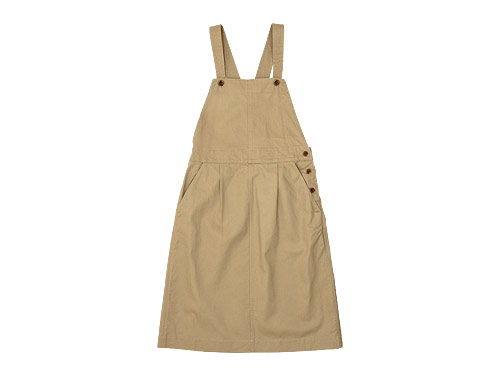 MHL. JAPANESE COTTON LINEN DRILL APRON DRESS / FADED COTTON TWILL OVERALLS