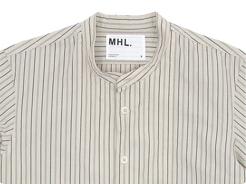 MHL. WIDE STRIPE COTTON NO COLLAR SHIRTS