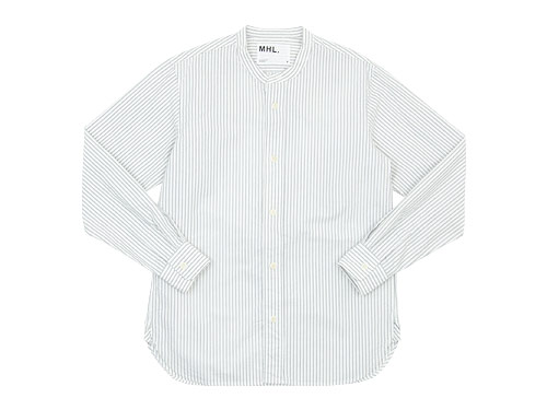 MHL. END ON END STRIPE COTTON NO COLLAR SHIRTS 〔メンズ〕