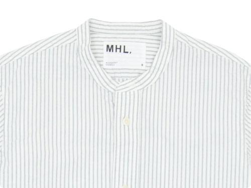 MHL. END ON END STRIPE COTTON NO COLLAR SHIRTS