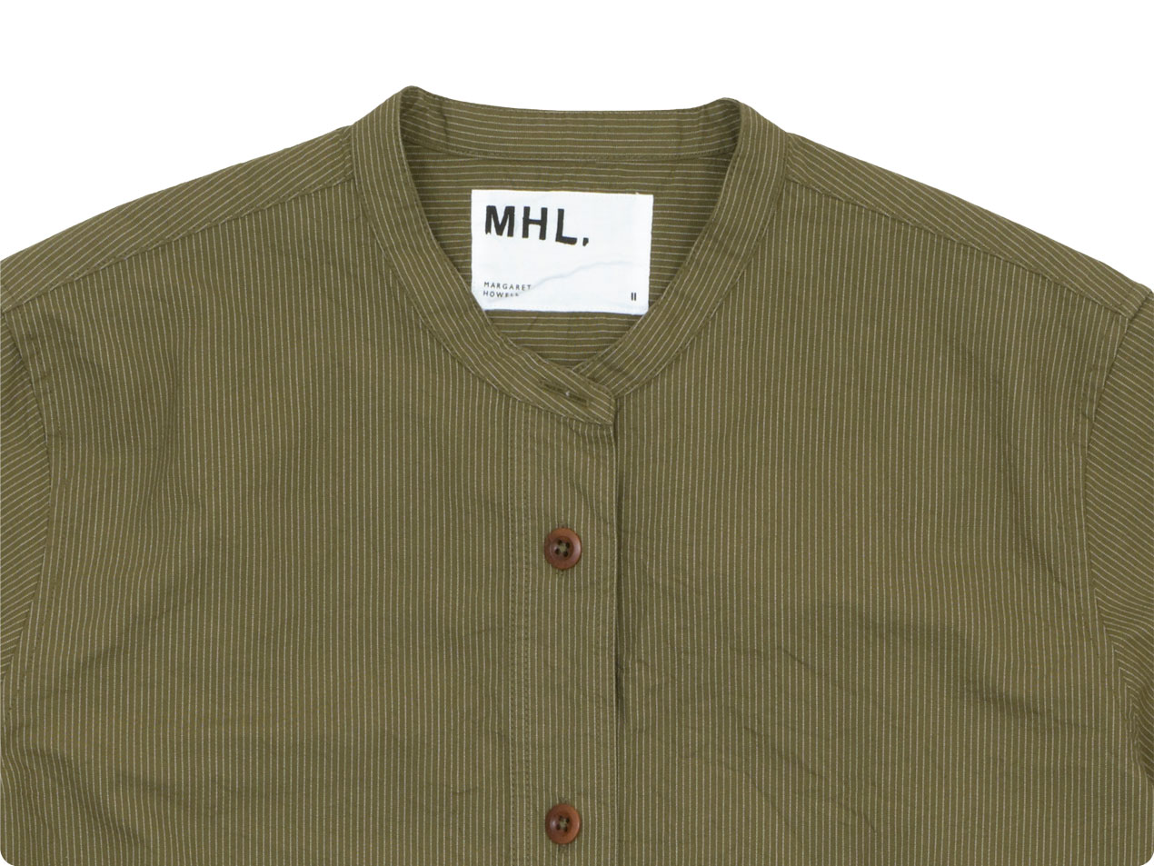 MHL. BROKEN STRIPE COTTON NO COLLAR SHIRTS