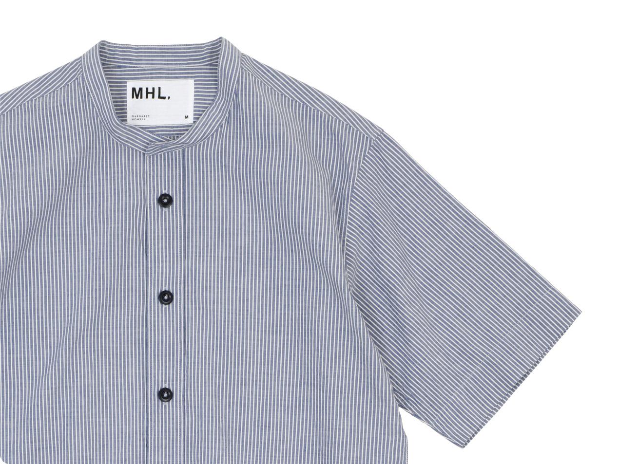 MHL. COTTON LINEN STRIPE S/S SHIRTS 〔メンズ〕