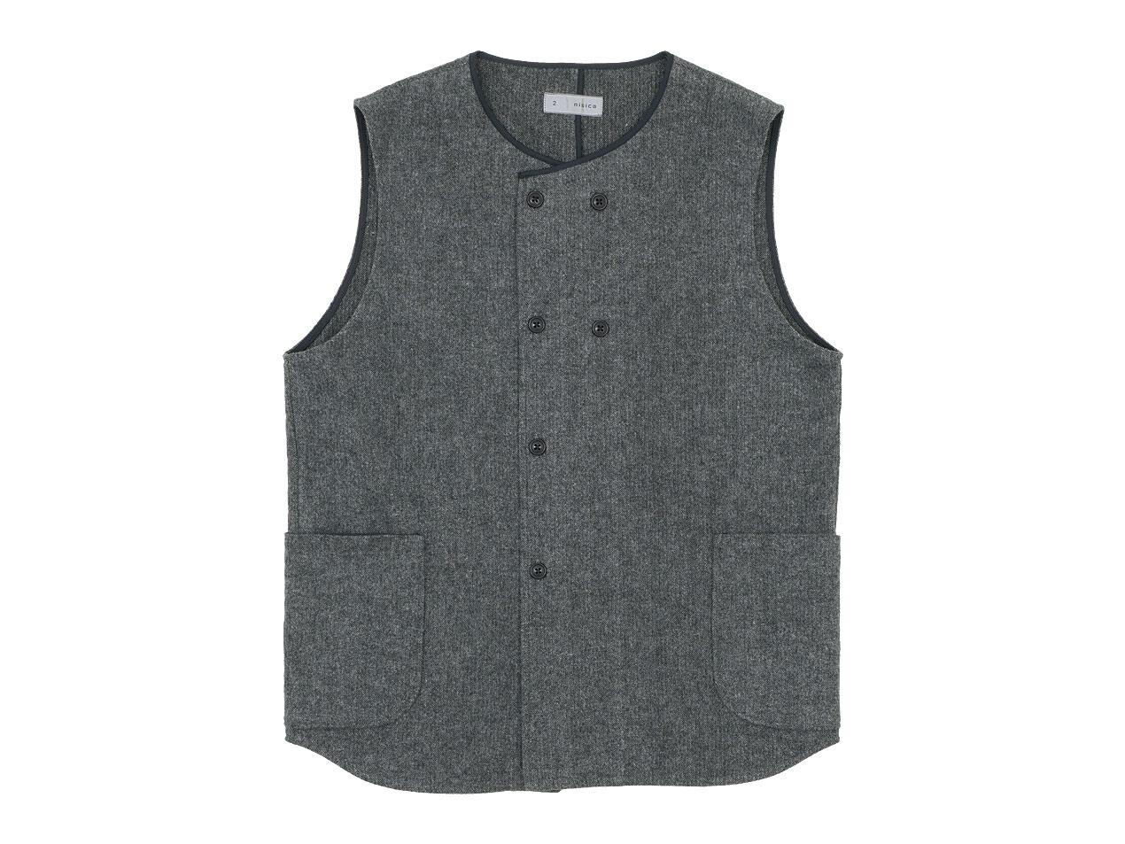 nisica ダブルボタンベスト / ルーズフィット ボタンダウンシャツ