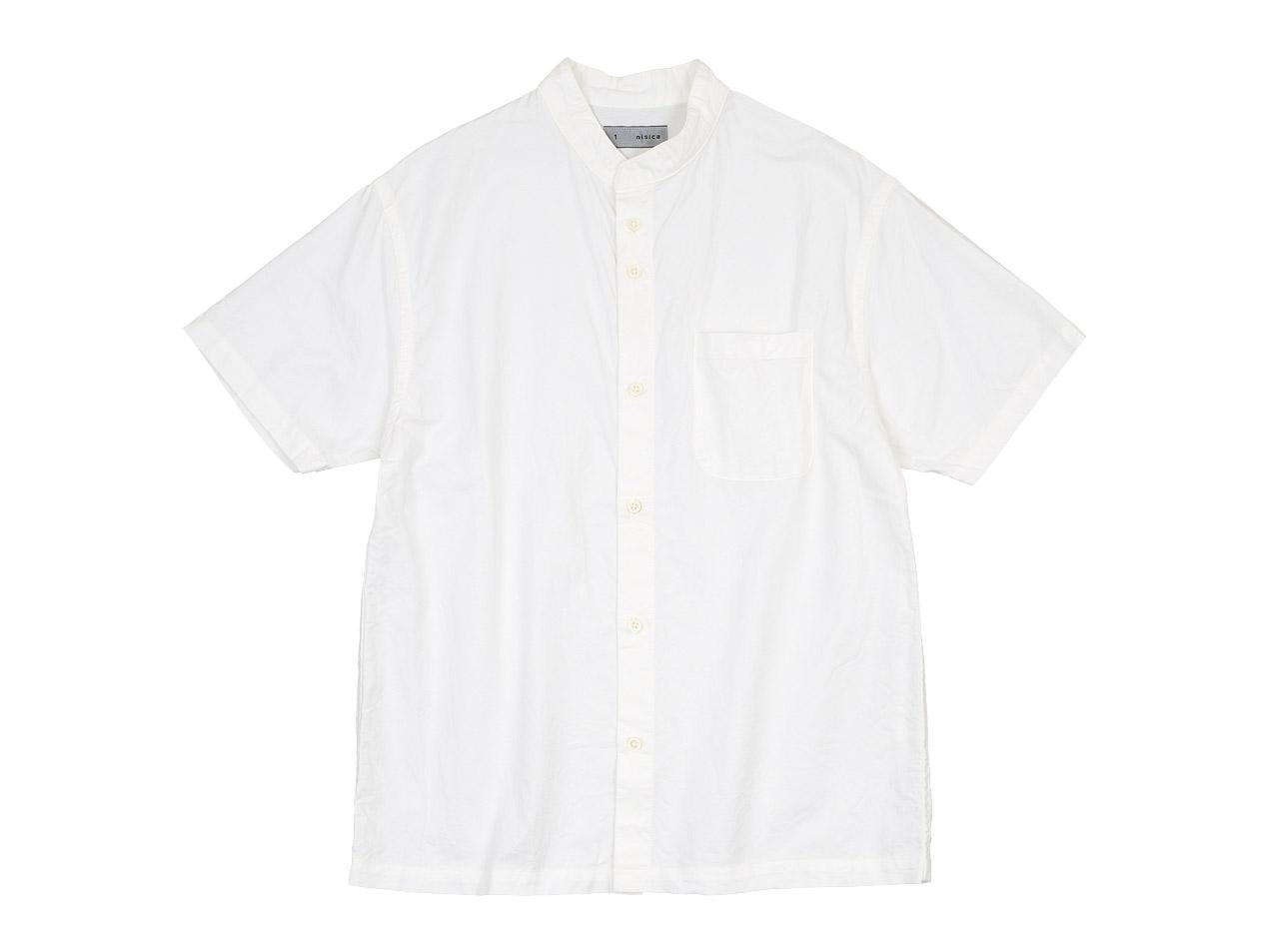 nisica バンドカラーシャツ / ハイカウントツイル パンツ