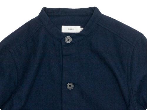 RINEN 2/80ウール綾織 スタンドカラーロングシャツ