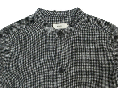 RINEN 2/48ウール綾織 千鳥 スタンドカラーロングシャツ