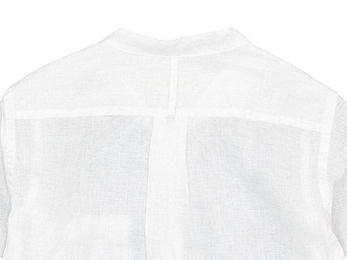 RINEN 80/1リネン平織 スタンドカラーシャツ
