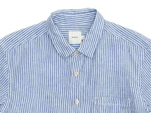 RINEN 80/1リネン平織ストライプ レギュラーカラーシャツ