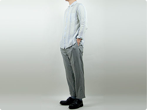 maillot check stripe linen regular shirts