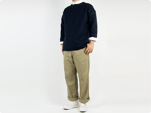 maillot melton big trainer / C/W denim big smock / tuck tapered pants / b.label cotton melton wide easy pants
