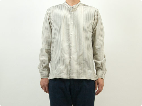 MHL. WIDE STRIPE COTTON NO COLLAR SHIRTS 〔メンズ〕