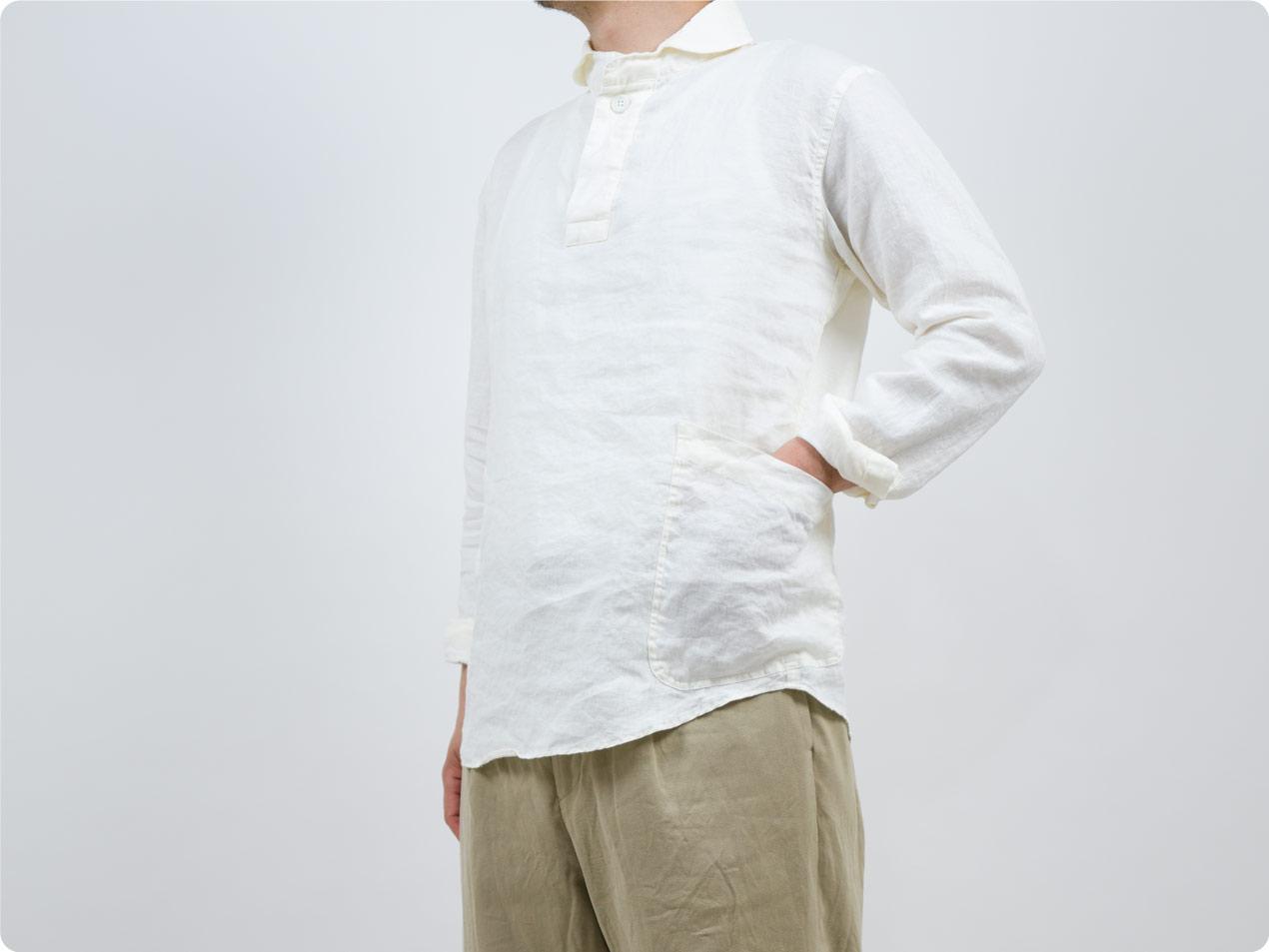 LOLO フレンチリネン プルオーバーシャツ