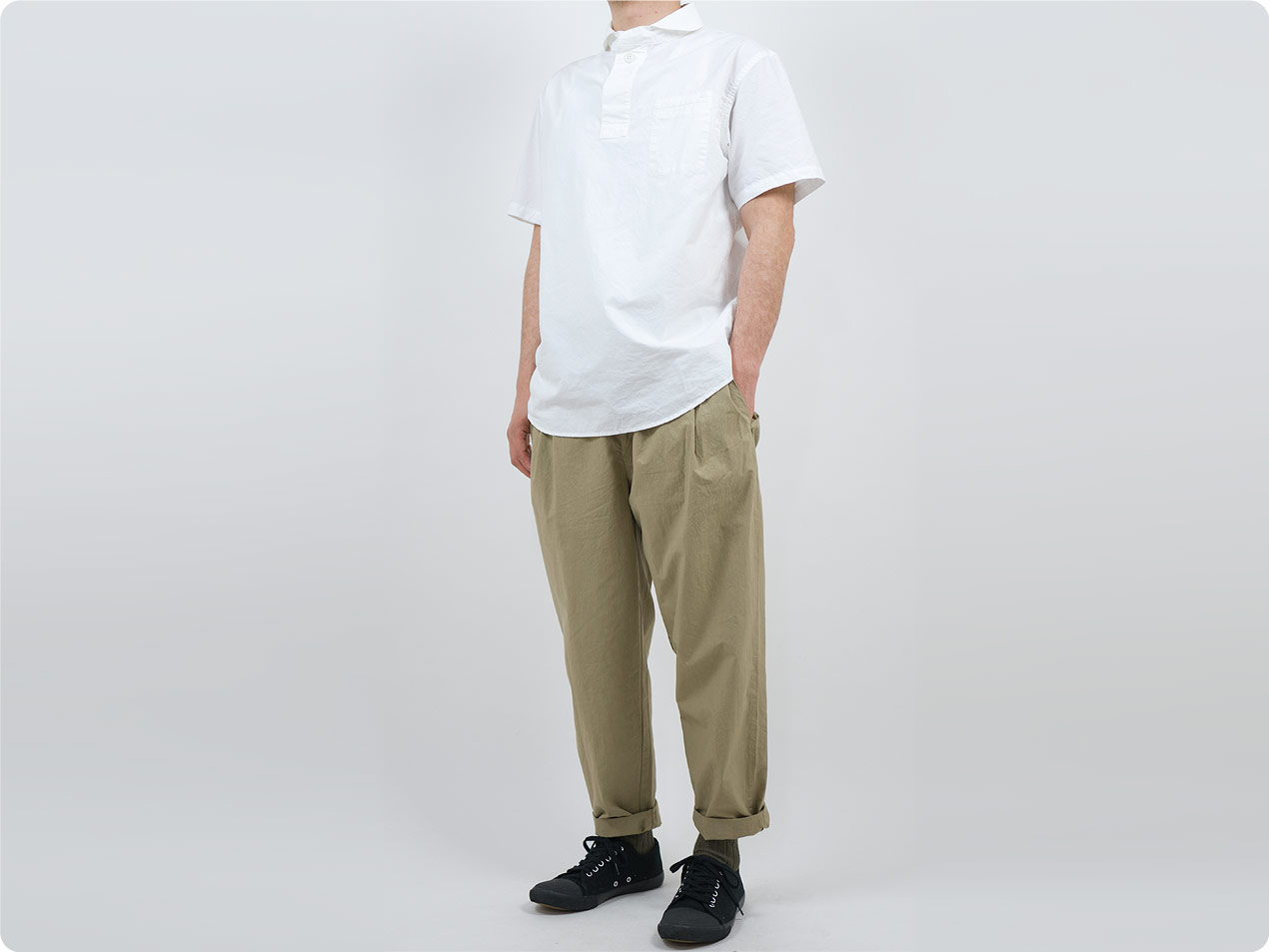 LOLO コットン半袖 プルオーバーシャツ / ステッチなし半袖シャツ