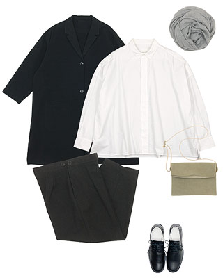 TOUJOURS Fly Front Square Collar Wide Shirtsを使ったコーディネート
