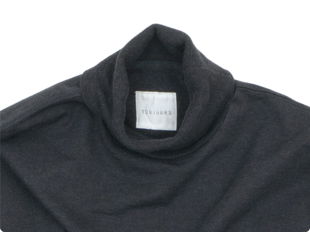 TOUJOURS Turtle Neck Pullover HEATHER BLACK