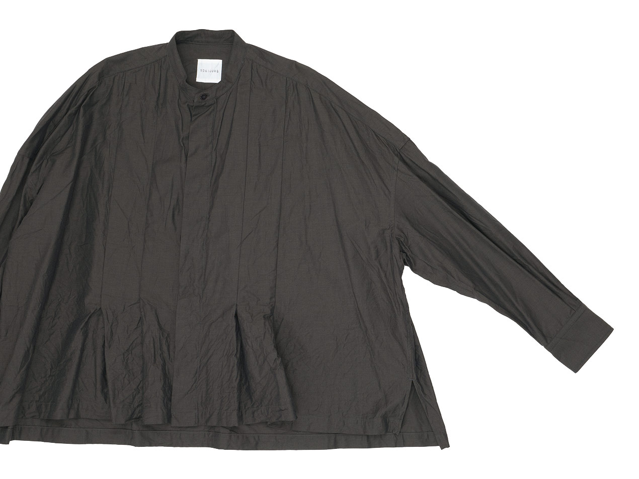 TOUJOURS Wide Tuck Shirt OLIVE BROWN【KM31KS01】
