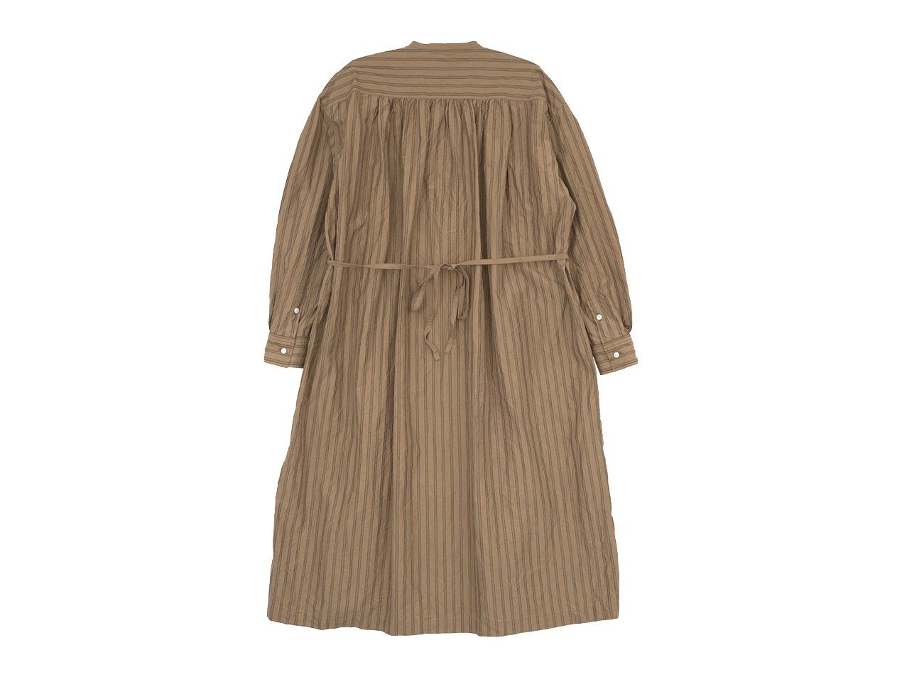 TOUJOURS Pin Tuck String Robe Dress CORK STRIPE【TM32FD01】