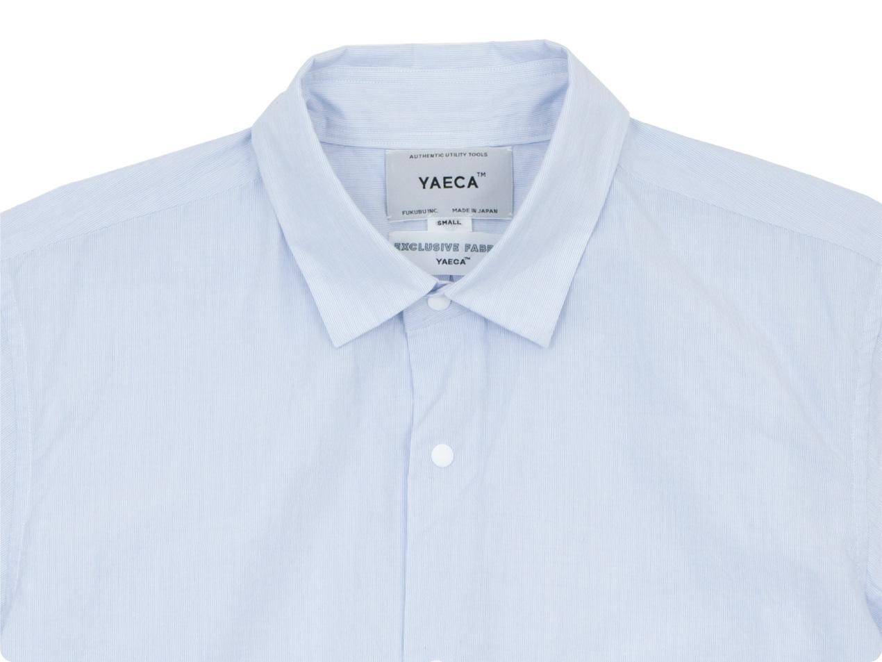 YAECA コンフォートシャツ リラックス ロング SAX STRIPE 〔メンズ〕